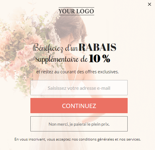localized pop-up for website visitors who speak French